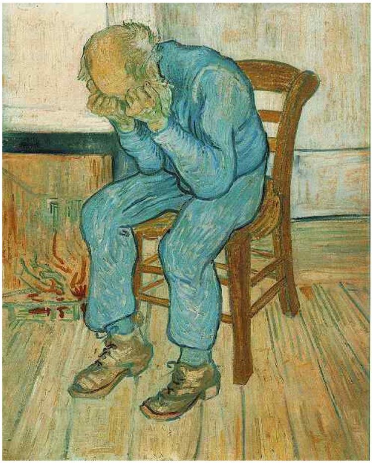 """""""Anciano en pena (En el umbral de eternidad)"""", Van Gogh, óleo sobre lienzo."""