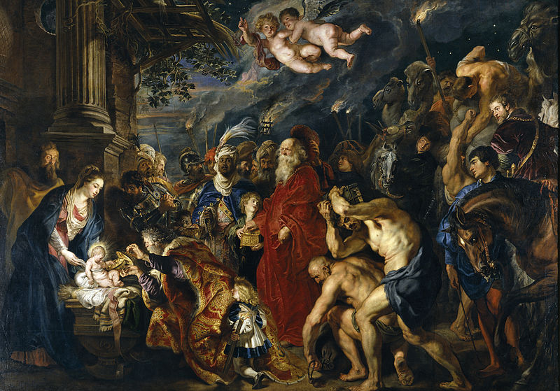 """""""La Adoración de los Reyes Magos"""", óleo sobre lienzo, Rubens 1577-1640."""