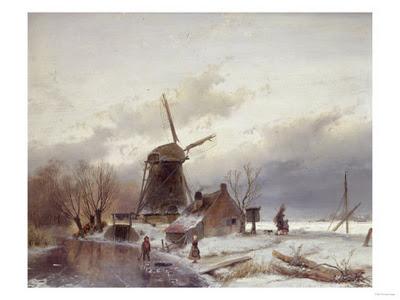 sir-lawrence-alma-tadema-paisaje-helado-con-molino-de-viento